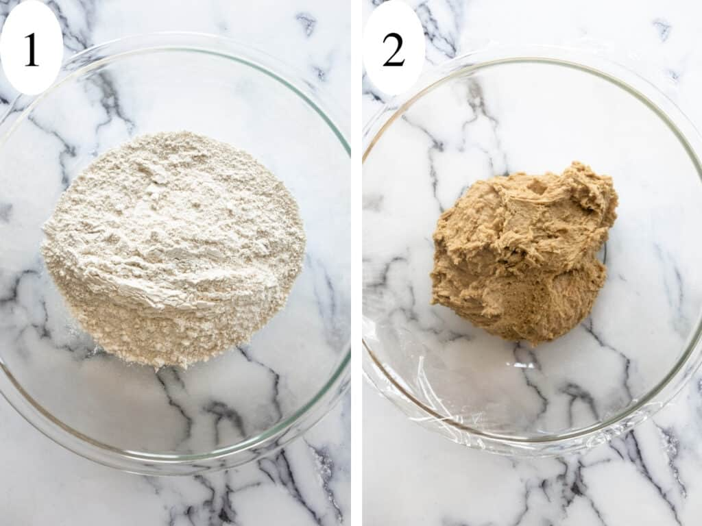 A bowl of mixed flours and a bowl of tan sticky dough for steps 1 and 2.
