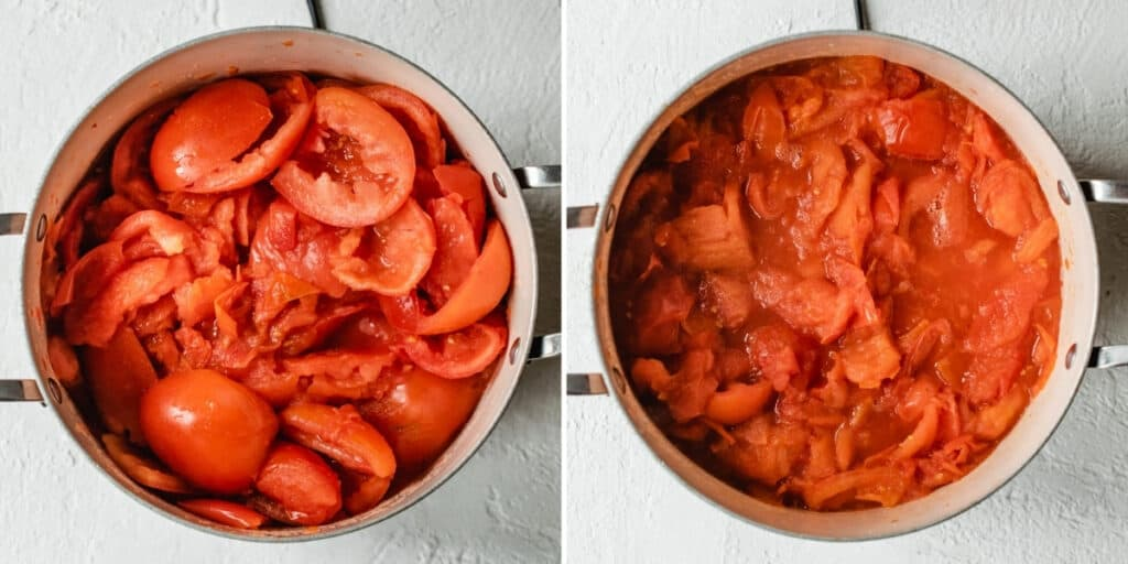 Tomatoes in a pot softened until skins are falling off.