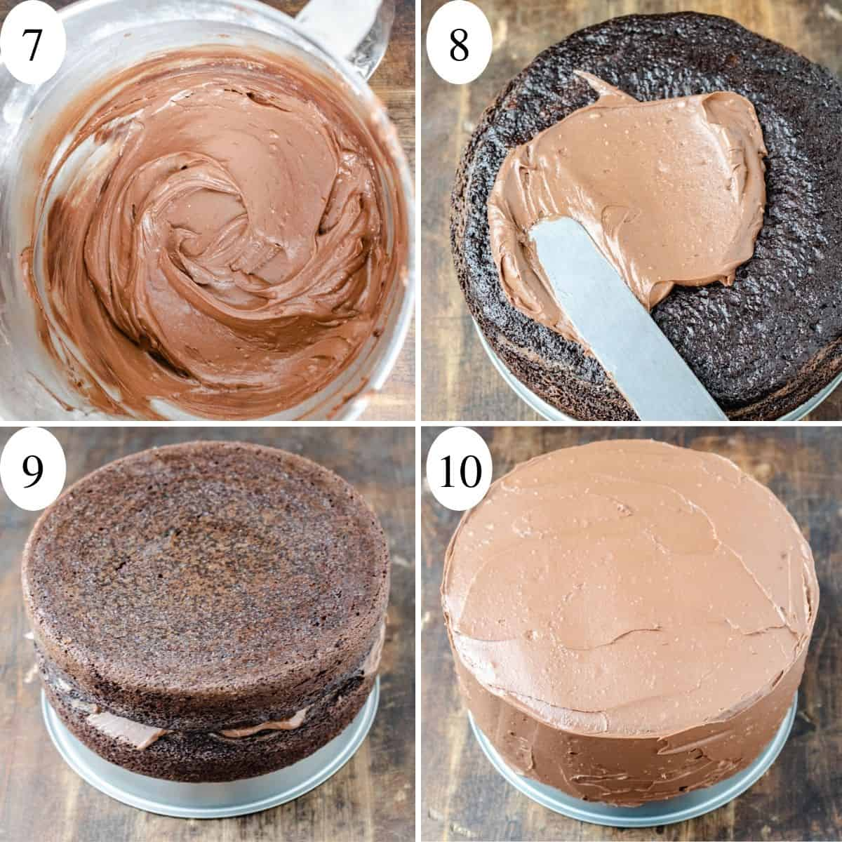 4 images showing the steps to frosting a two layer round cake.