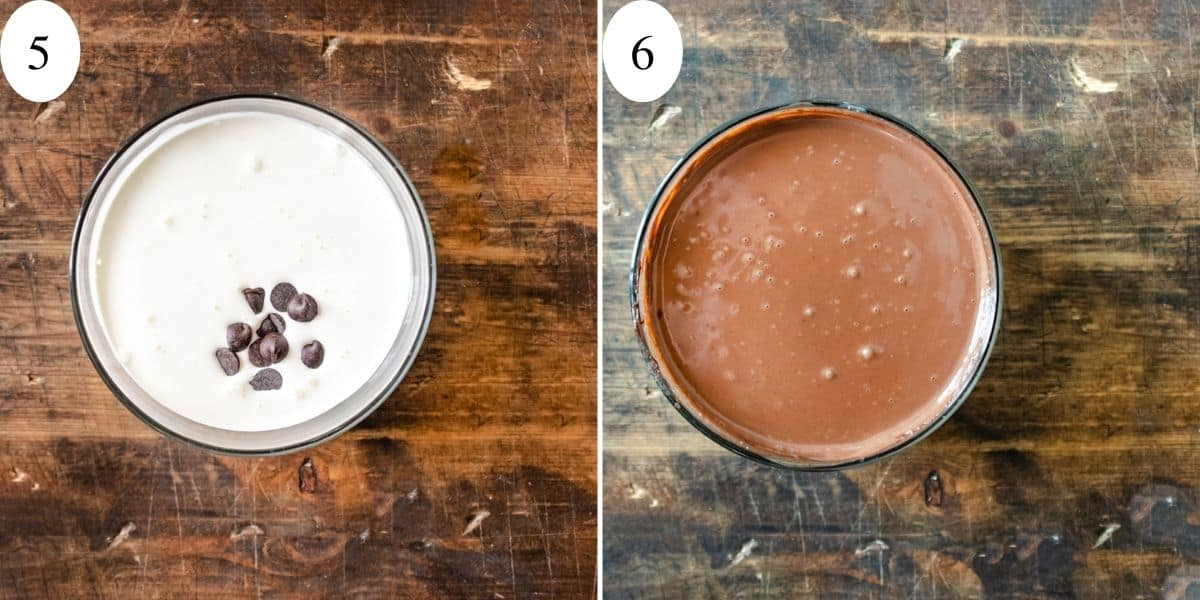 Chocolate chips in a bowl with whipping cream on the left and mixed on the right.