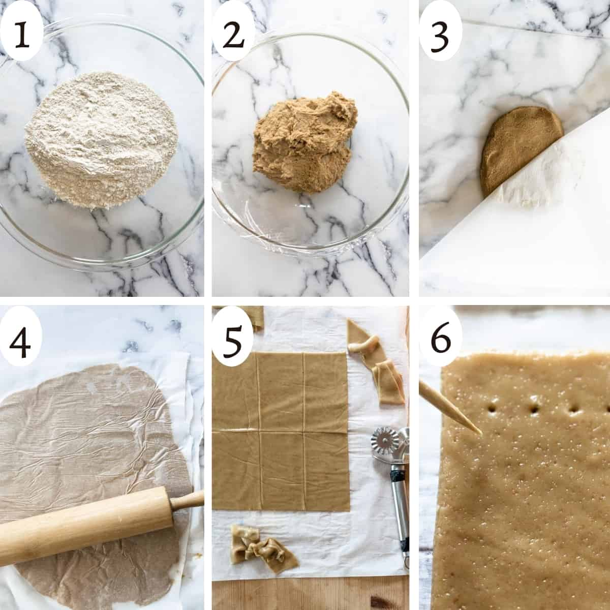 six step visual instruction grid showing how to make graham cracker dough and shape