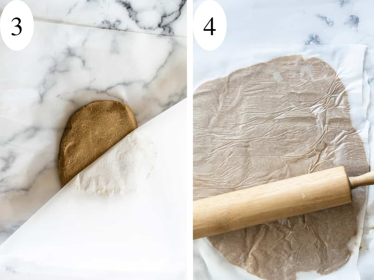Light brown sticky dough being rolled between two pieces of parchment paper.