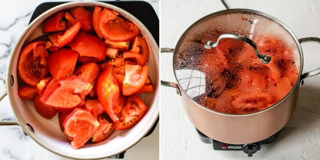 Cut, cored and seeded tomatoes in a pot with a lid on it.