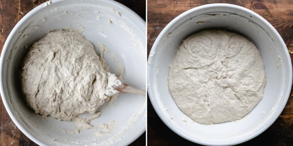 Combining no knead dough with a wooden spoon until the consistency is formed in a bowl.