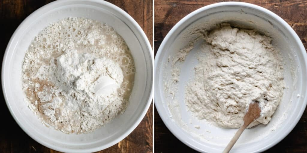 Mixing dough ingredients in a large bowl with a wooden spoon.
