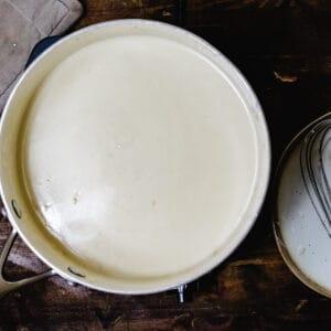 A pot of milky looking liquid.