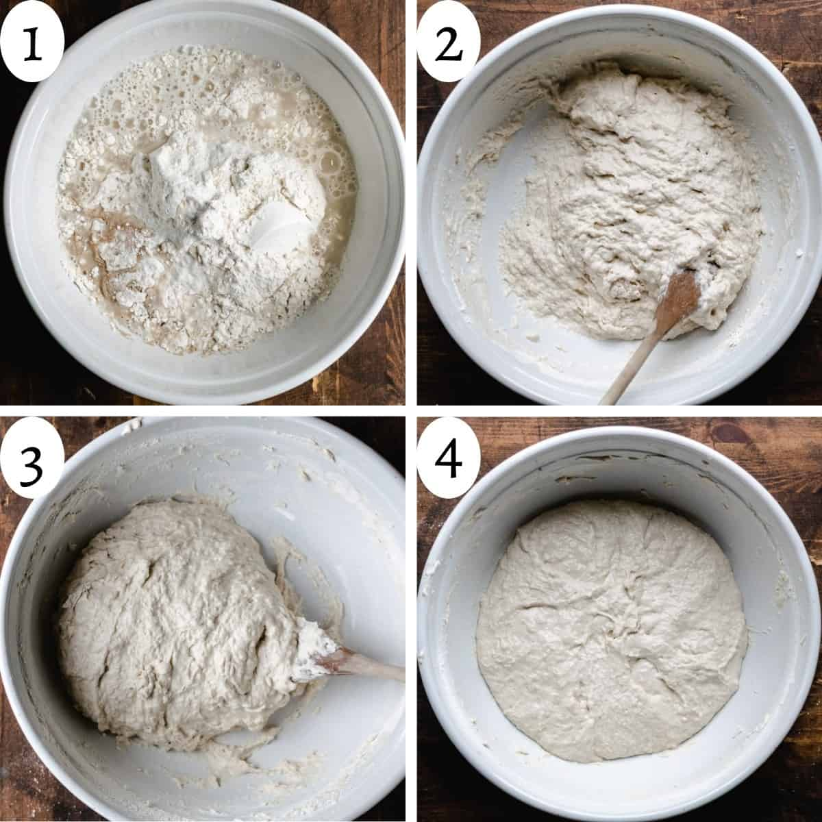 4 step info graphic detailing the steps to making Dutch oven bread recipe.