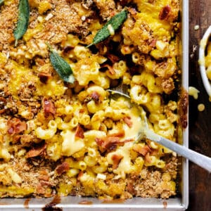 Casserole dish with butternut squash macaroni and cheese spoonful being taken.