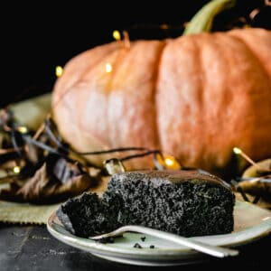 Piece of black chocolate cake with metallic sprinkles in front of pumpkin with lights and Fall leaves.