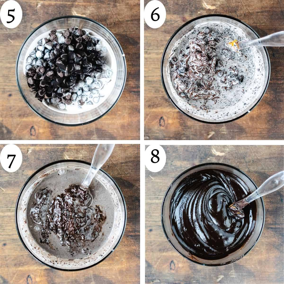 Four numbered images in a collage showing how to make chocolate ganache.