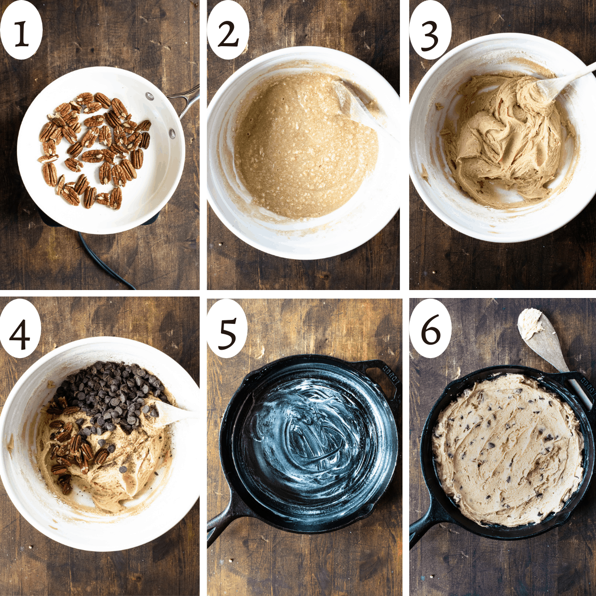 a collage of 6 images showing the basic steps to making the skillet cookie recipe