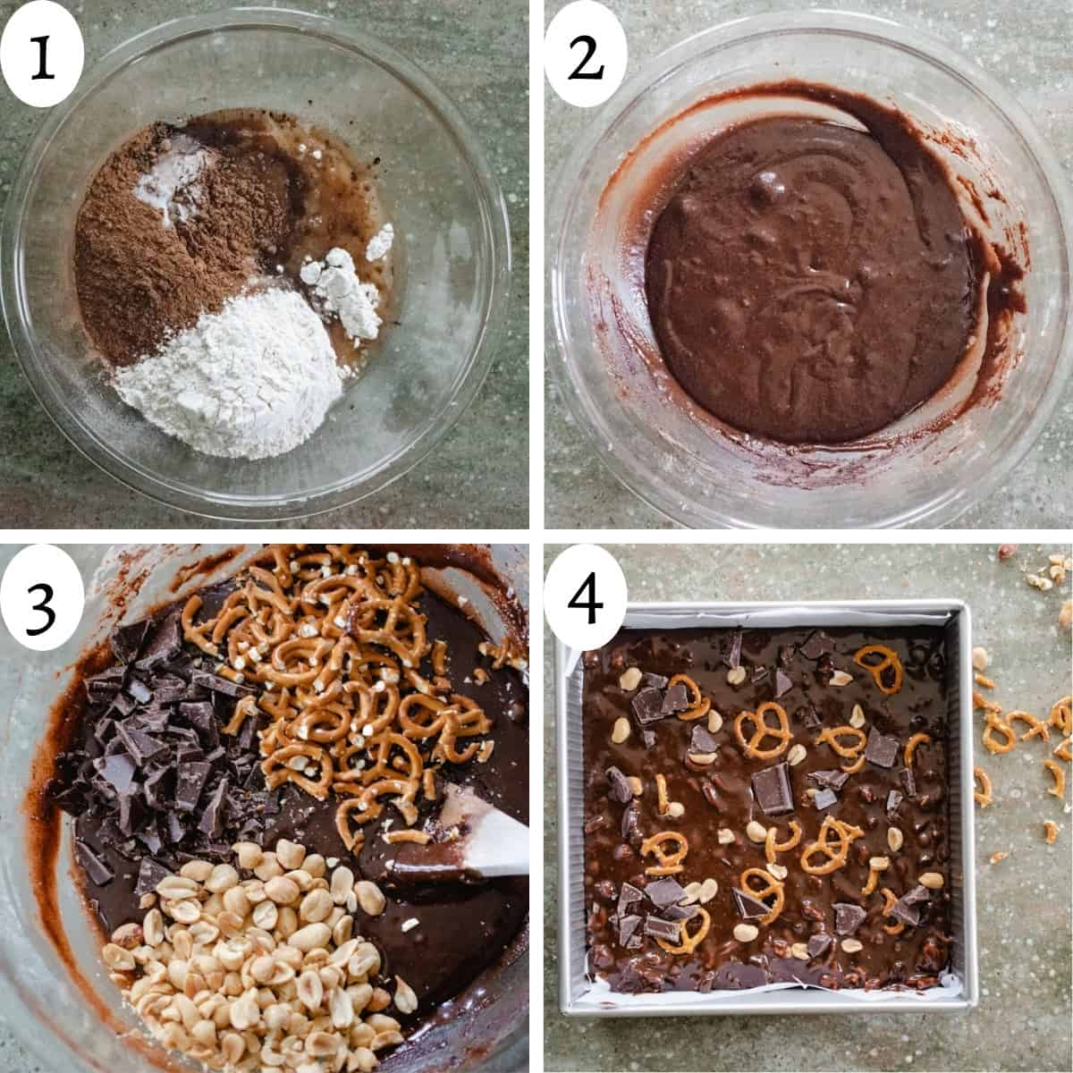 4 image collage showing steps to making the 'Everything Brownies' recipe.