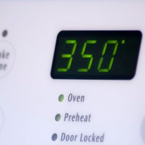 Digital oven timer set to 350 degrees.