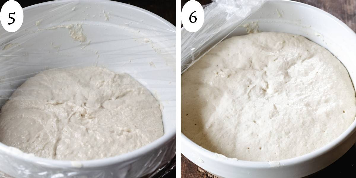 Before and after photo of bread dough in a bowl rising and doubling in size.
