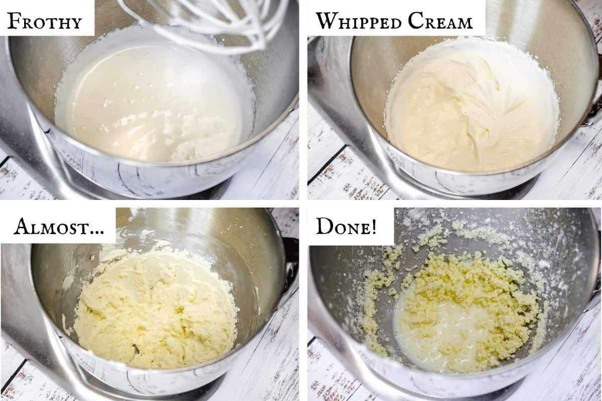 4 photo collage showing the stages of whipping cream into butter.