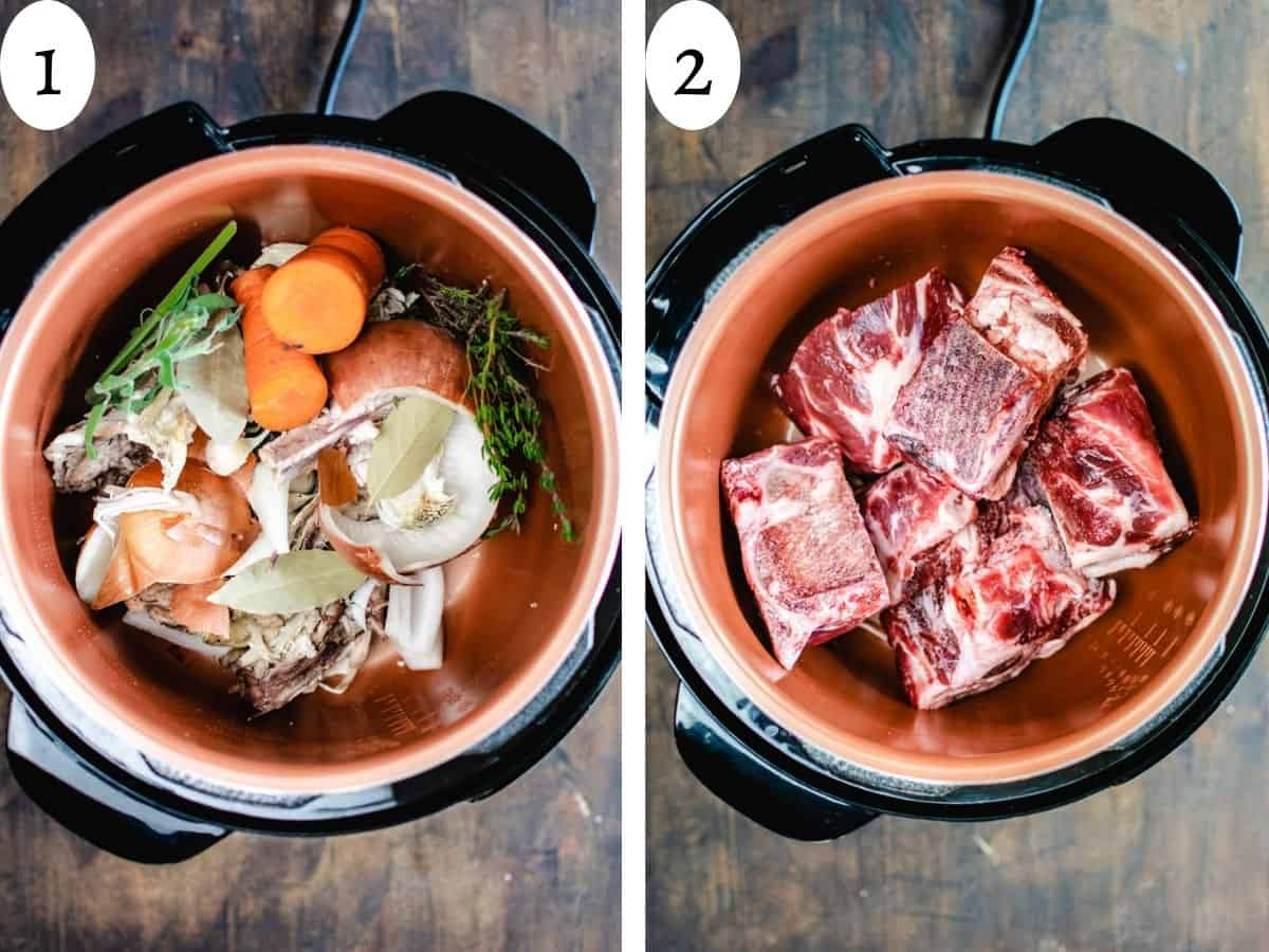 Two photos comparing chicken and beef bones in a pressure cooker.