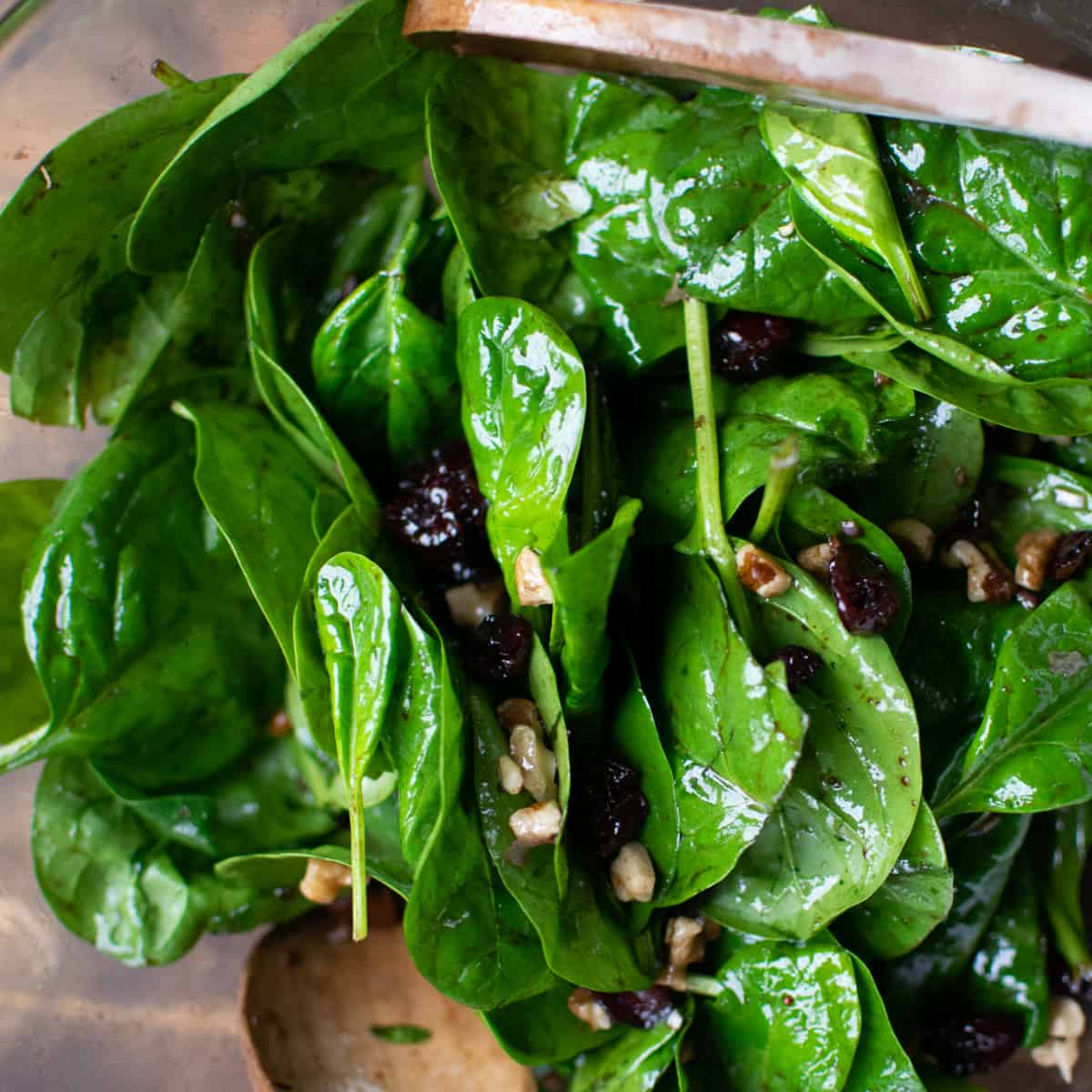 Baby spinach leaves covered in a light dressing.