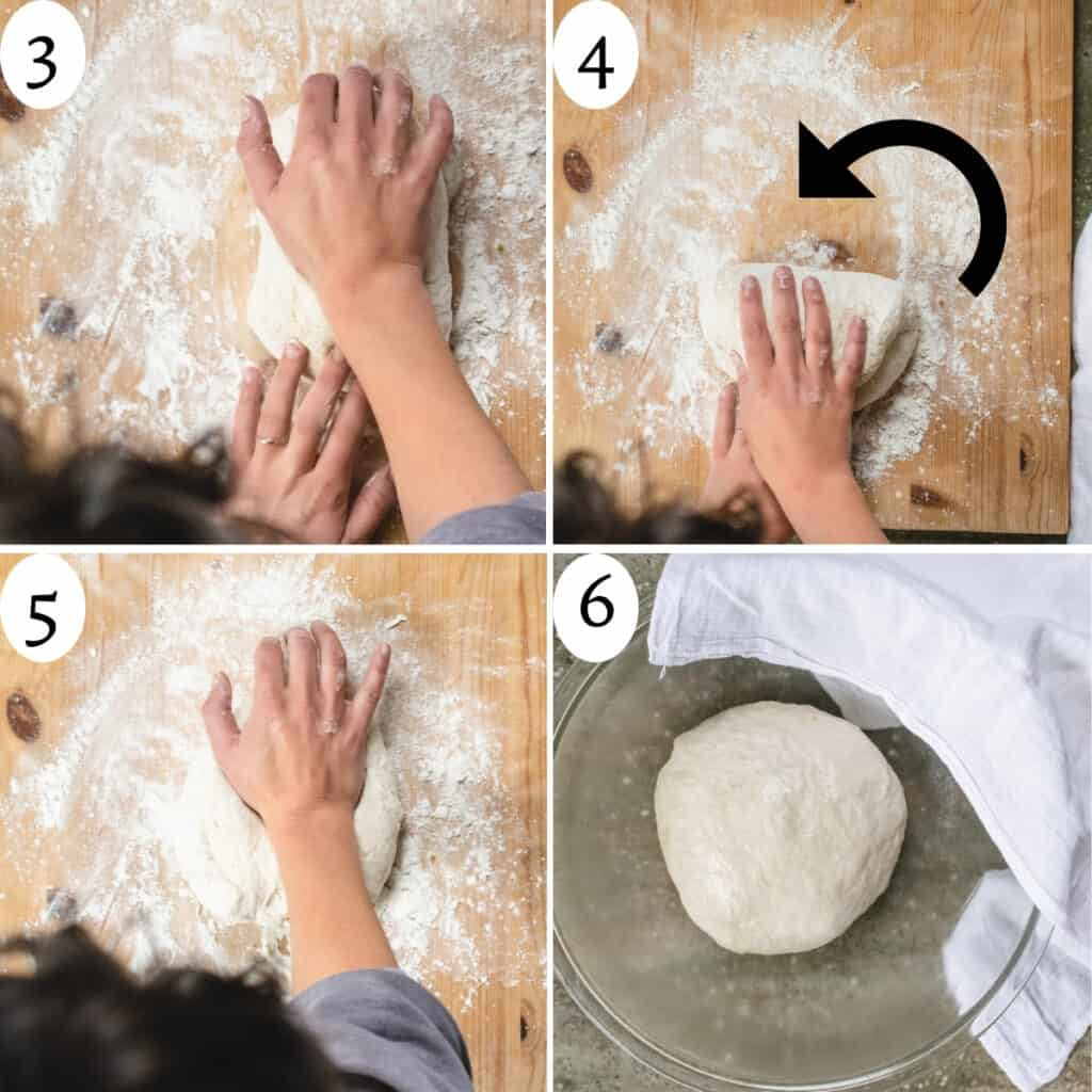 4 step image collage numbered 3 to 6 of photos showing how to knead dough.
