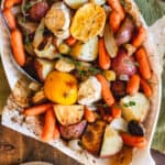 Roasted potatoes, carrots, and parsnips with herbs, garlic and lemon.