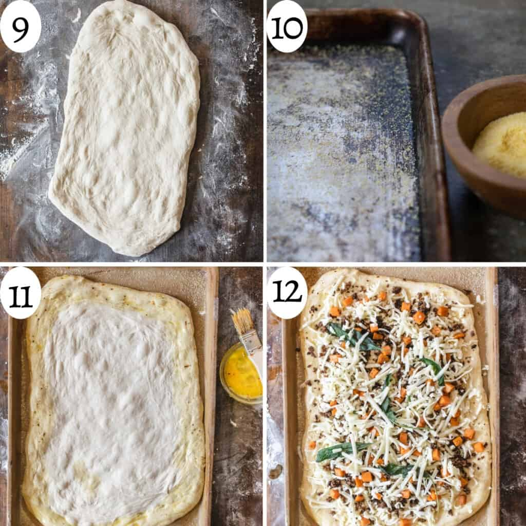 Four photo image collage numbered 9 through 12 showing how to assemble the pizza.
