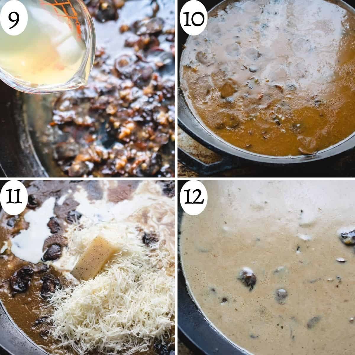 4 images in a collage showing numbered steps to making the cream of mushroom sauce.