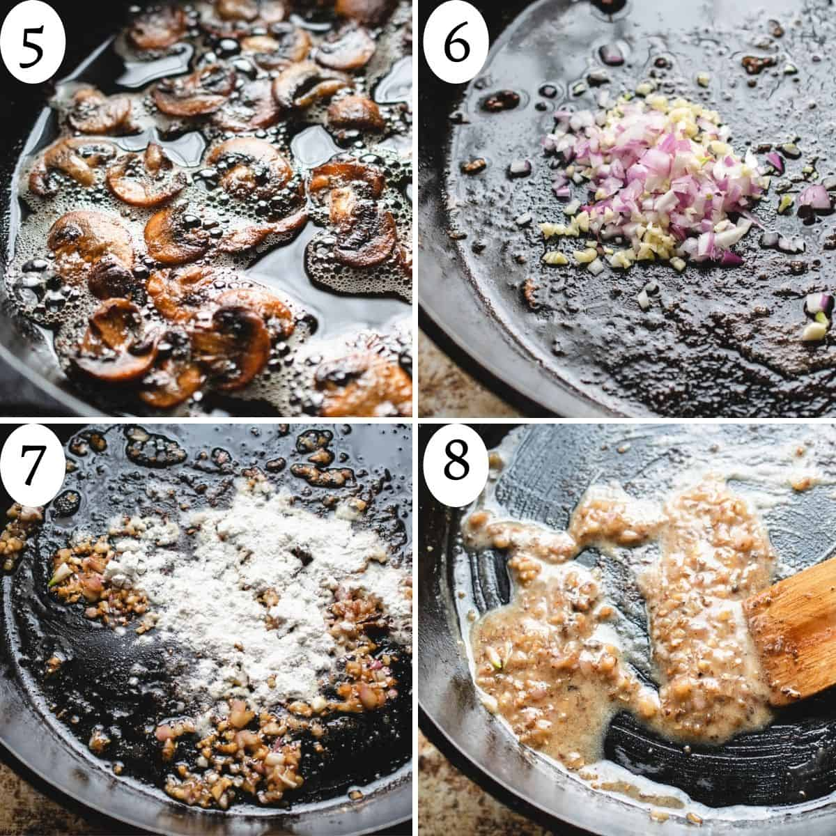 A collage of 4 images numbered 5 through 8 showing how to sauté the ingredients in the dish.