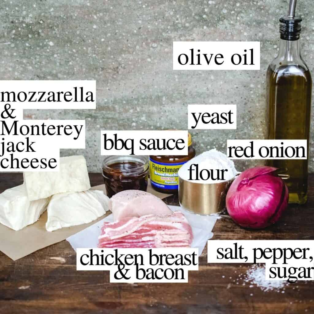 Ingredients needed to make the recipe with text labels by each item.