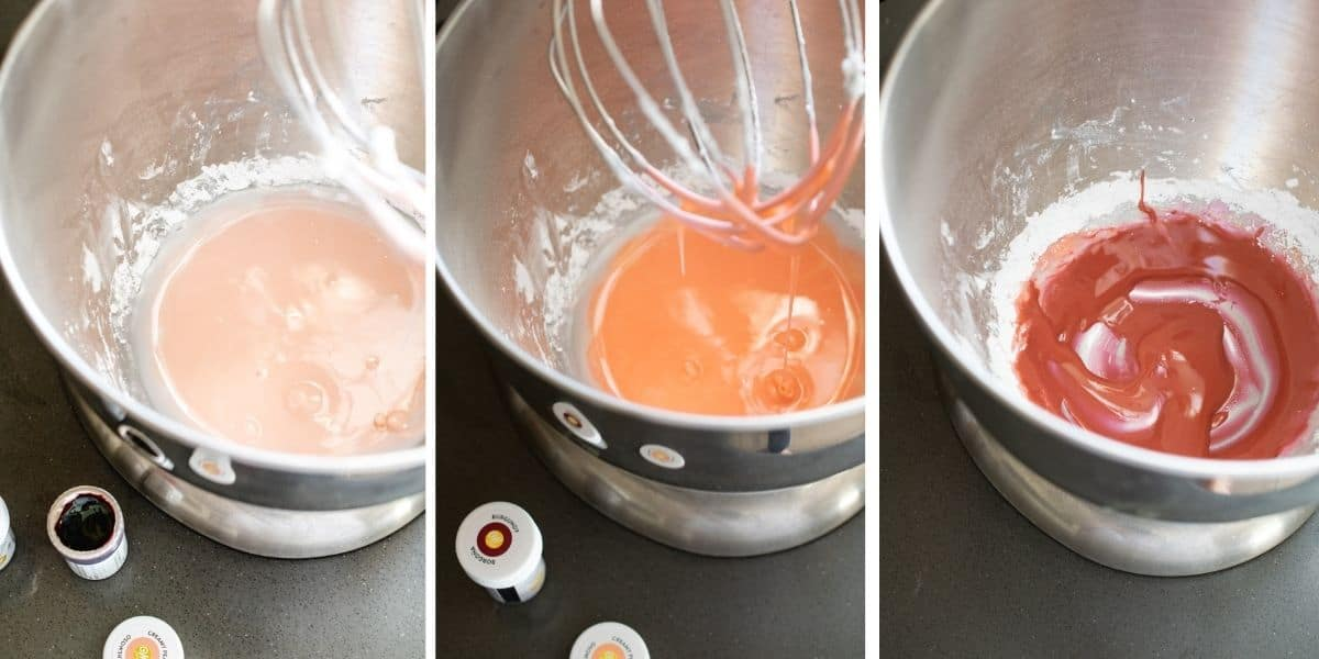 Three images of mixture being colored shades of pink.