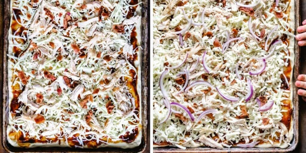 Two side by side photos showing the toppings of cheese, chicken, bacon and red onion over barbecue sauce.