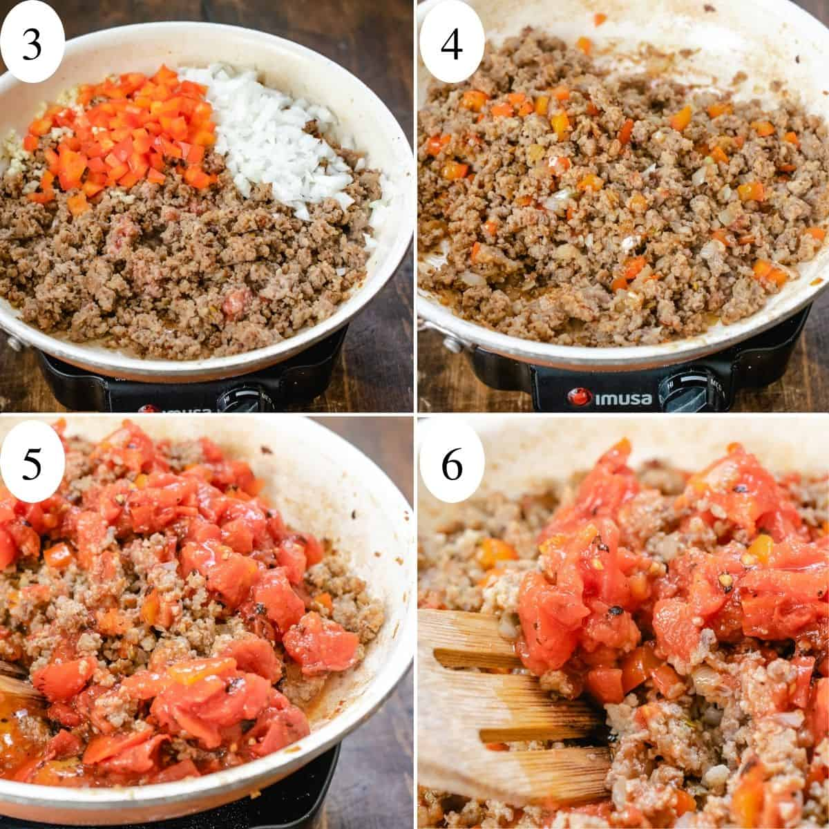 4 image numbered collage showing sautéed sausage, peppers and onions.
