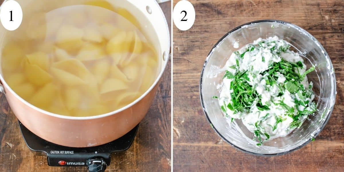 Pasta shells boiling in a pot of water and spinach and ricotta cheese in a bowl.