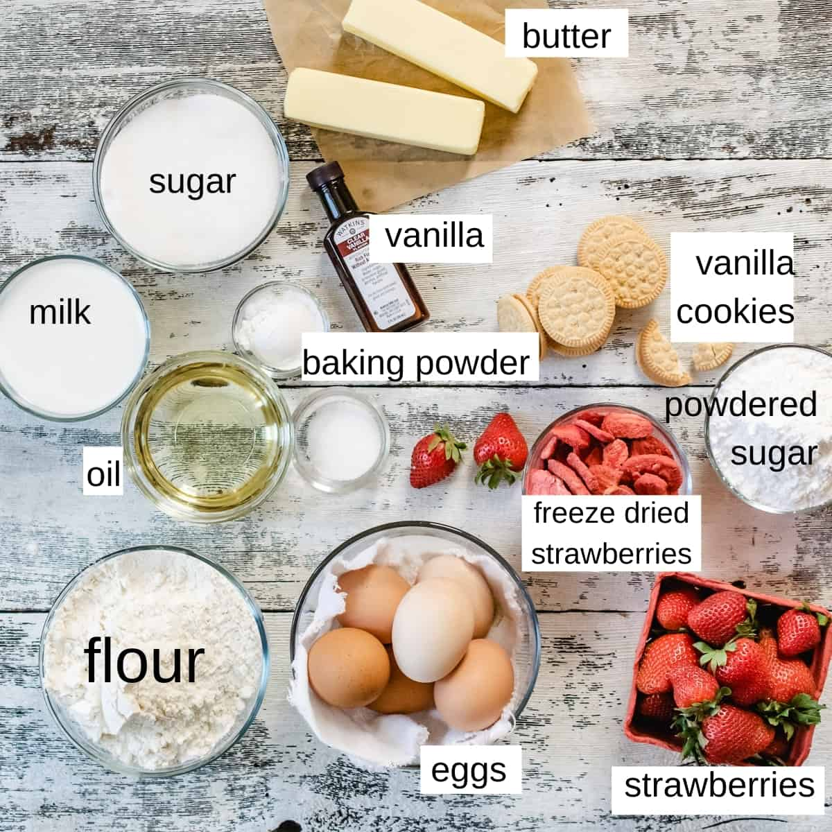 Photo of ingredients needed to make strawberry layer cake.