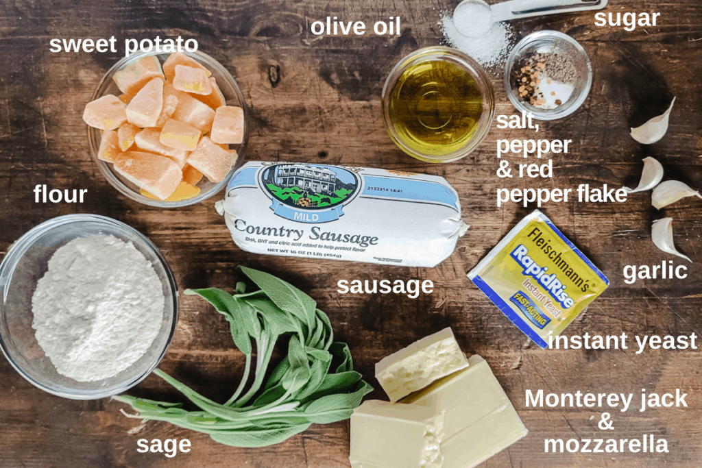 Labeled ingredients to make the recipe.
